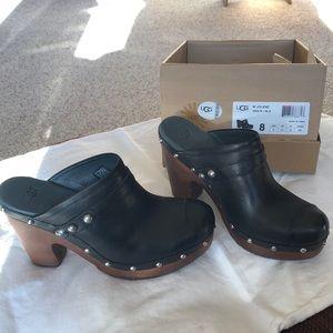 UGG Jolene Black Leather Clog. EUC